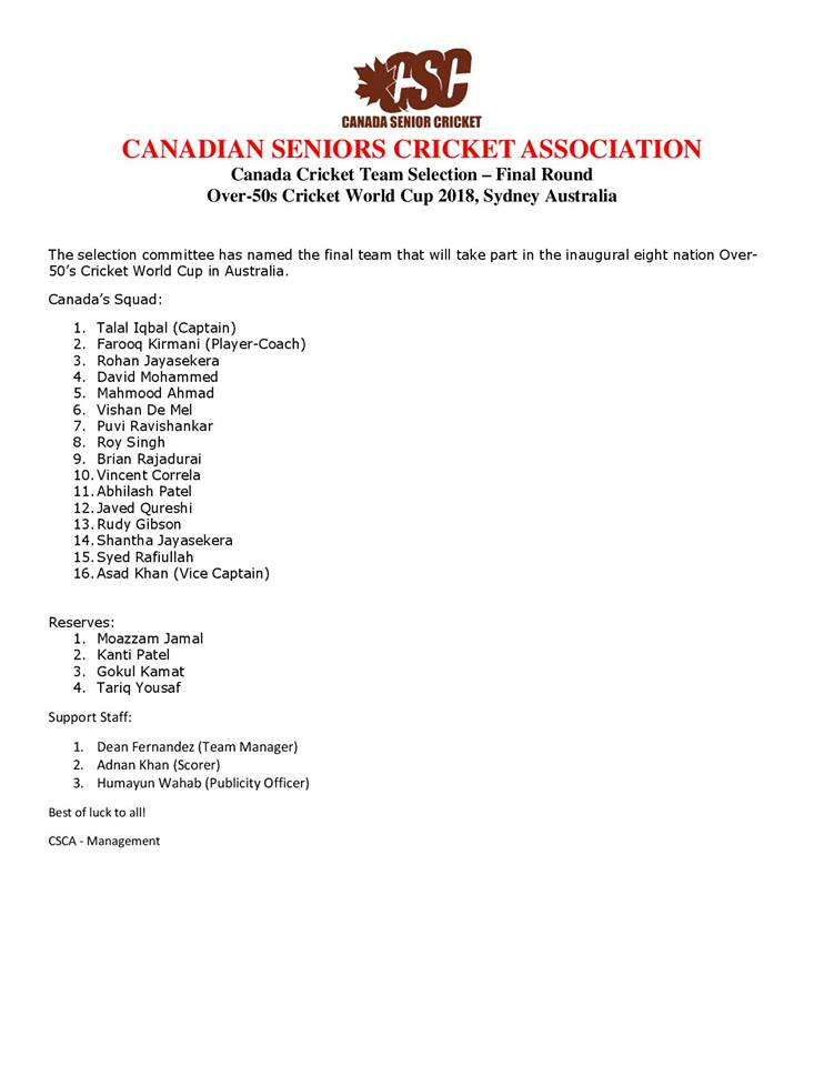 Over 50s Cricket World Cup Canadian squad